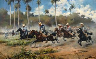 Carga del Ejército Español en la Guerra de Cuba, por José Cusachs y Cusachs. Óleo sobre lienzo. 1889