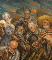 Los Viejos, por José Arencibia Gil.  Óleo sobre lienzo. 1956